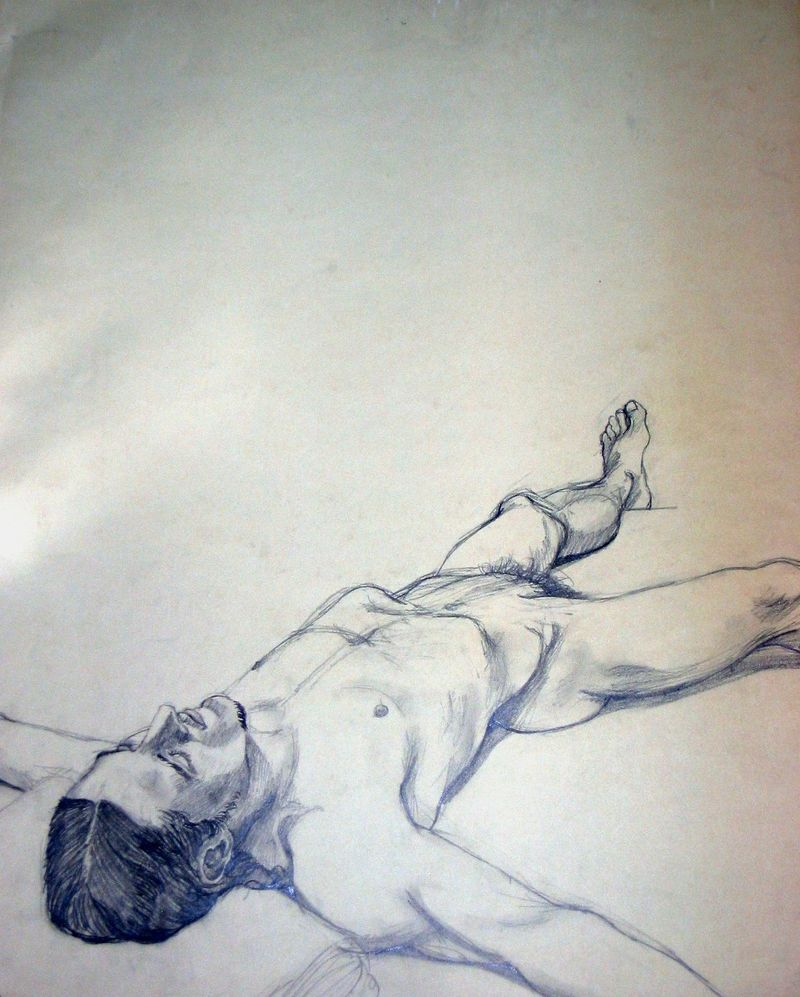 Nude Male Drawing circa Yale years Joyce Owens