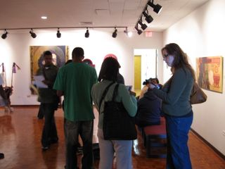 Art students in CSU gallery and joyce out of the box 011