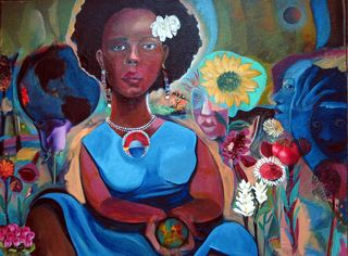 Blues for the Good Earth 18 x 24 acrylic_collage on board 2008 Joyce Owens