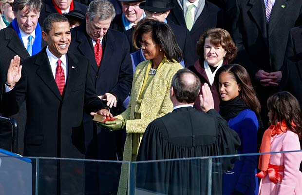 Barack Obama Michelle Obama and John Roberts at 2009 Inauguration-1