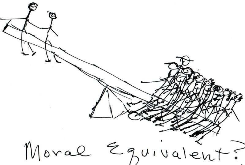Moral Equivalent, chicken scratch drawing by Monroe Anderson