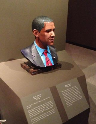 Obama bust  installed in Detroit Wright Museum 2 jpg